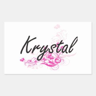 Krystal Artistic Name Design with Flowers Rectangular Sticker