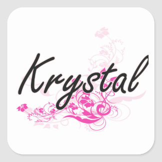 Krystal Artistic Name Design with Flowers Square Sticker