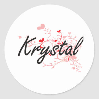 Krystal Artistic Name Design with Hearts Classic Round Sticker