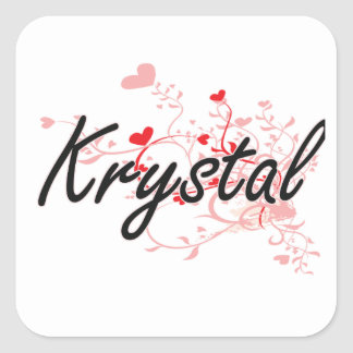 Krystal Artistic Name Design with Hearts Square Sticker