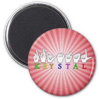 KRYSTAL ASL FINGERSPELLED NAME FEMALE SIGN 2 INCH ROUND MAGNET