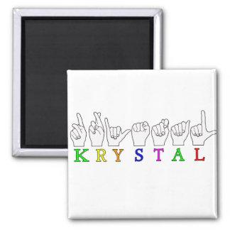 KRYSTAL ASL FINGERSPELLED NAME FEMALE SIGN 2 INCH SQUARE MAGNET