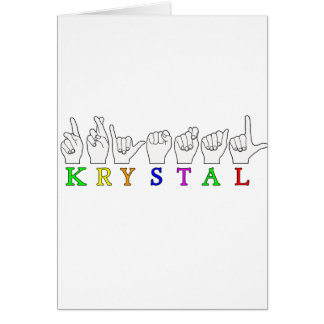 KRYSTAL ASL FINGERSPELLED NAME FEMALE SIGN CARD