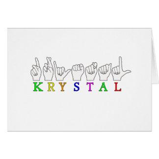 KRYSTAL ASL FINGERSPELLED NAME FEMALE SIGN GREETING CARD