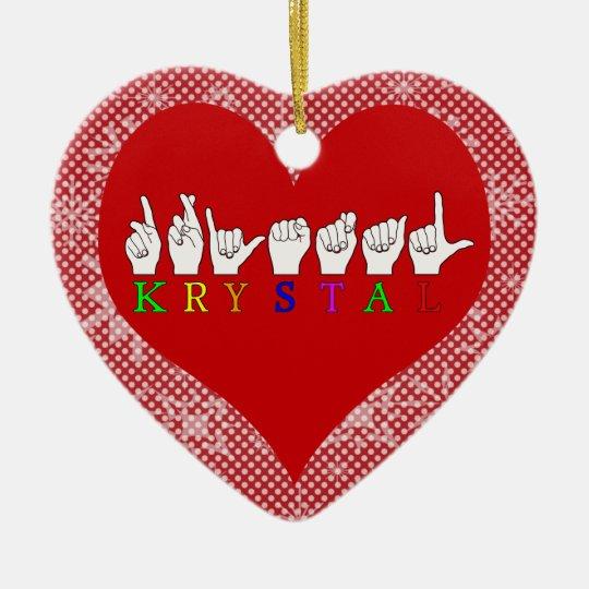 KRYSTAL ASL FINGERSPELLED NAME FEMALE SIGN CERAMIC ORNAMENT