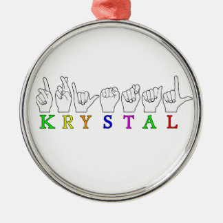 KRYSTAL ASL FINGERSPELLED NAME FEMALE SIGN METAL ORNAMENT