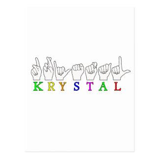 KRYSTAL ASL FINGERSPELLED NAME FEMALE SIGN POST CARDS