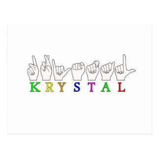 KRYSTAL ASL FINGERSPELLED NAME FEMALE SIGN POSTCARD