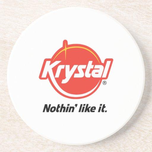 Krystal Logo Coaster in White