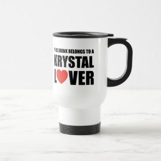 Krystal Lover 15 Oz Stainless Steel Travel Mug
