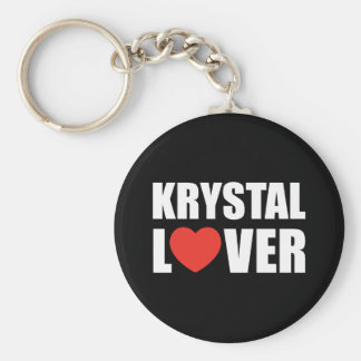 Krystal Lover Basic Round Button Keychain
