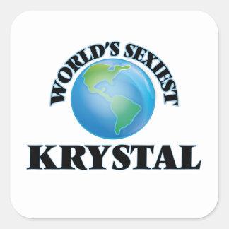 Krystal más atractivo del mundo pegatina cuadrada