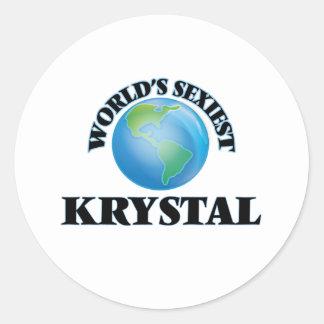 Krystal más atractivo del mundo pegatina redonda