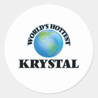 Krystal más caliente del mundo pegatina redonda