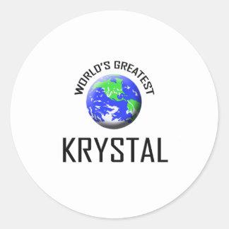 Krystal más grande del mundo pegatina redonda