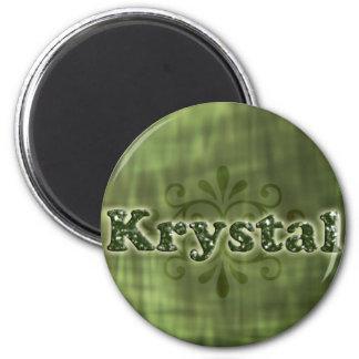 Krystal verde imán redondo 5 cm
