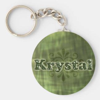 Krystal verde llavero redondo tipo pin