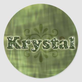 Krystal verde pegatina redonda