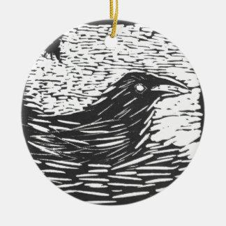 KT's Raven Carving Ceramic Ornament
