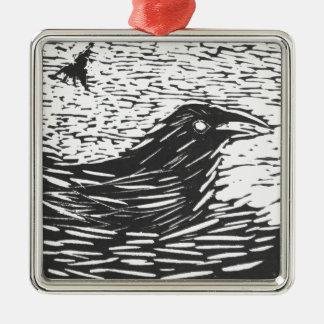 KT's Raven Carving Metal Ornament