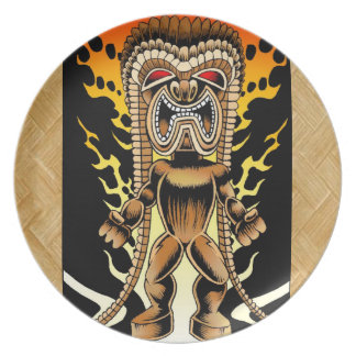 Ku, Hawaiian Tiki God Melamine Plate