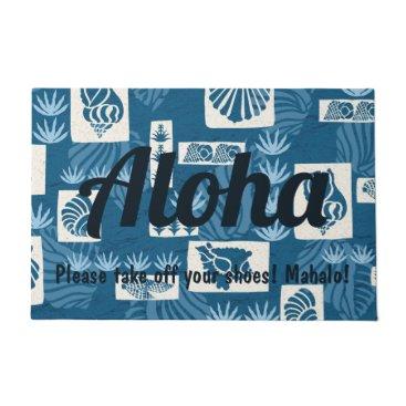Hawaiian Themed Kua Bay Hawaiian Undersea Shells Aloha Indigo Doormat