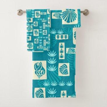 Hawaiian Themed Kua Bay Hawaiian Undersea Shells Coordinate Teal Bath Towel Set