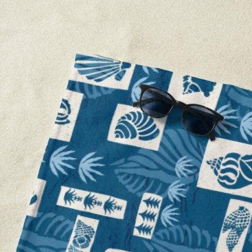 Hawaiian Themed Kua Bay Hawaiian Undersea Shells -Indigo Beach Towel
