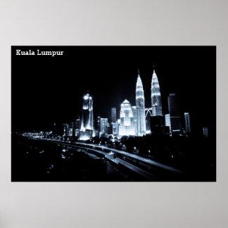 Kuala Lumpur beautiful night lights scenery Poster