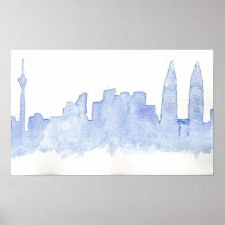 Kuala Lumpur blue watercolour poster