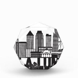 Kuala Lumpur City Skyline Text Black and White Ill Acrylic Award