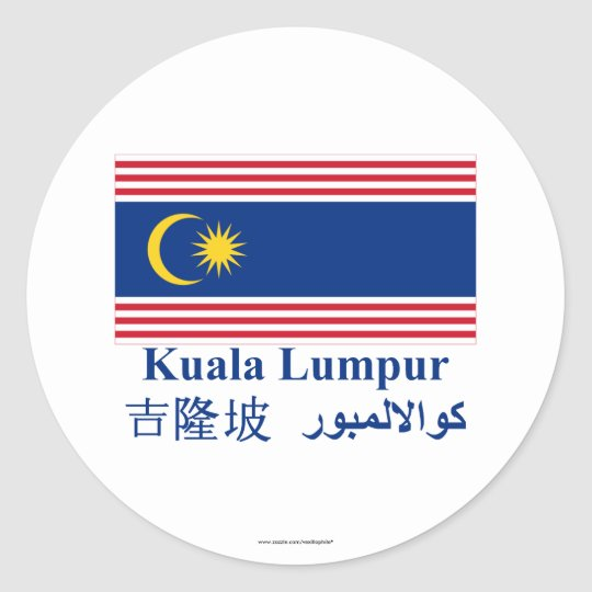 Kuala Lumpur flag with name Classic Round Sticker