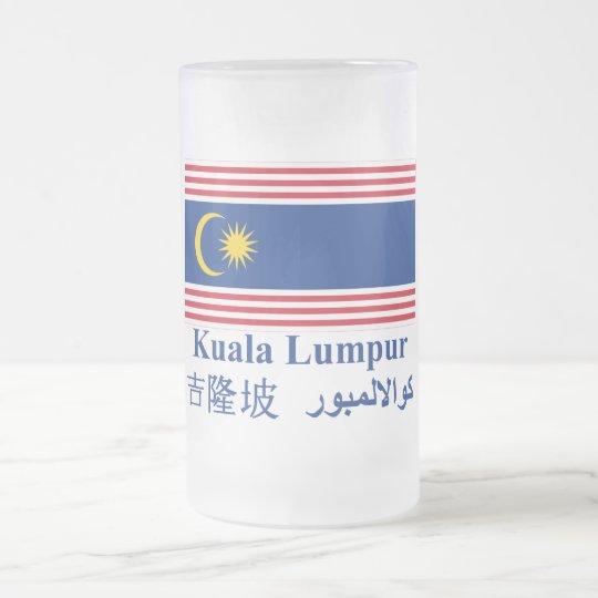 Kuala Lumpur flag with name Frosted Glass Beer Mug