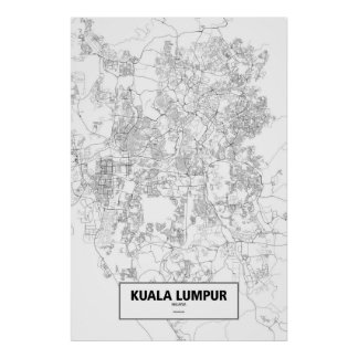 Kuala Lumpur, Malaysia (black on white) Poster