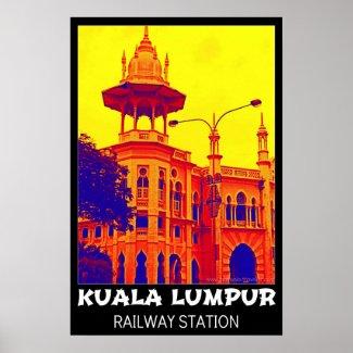 Kuala Lumpur Railway Station Pop Art Poster