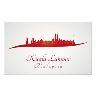 Kuala Lumpur skyline in red Cojinete