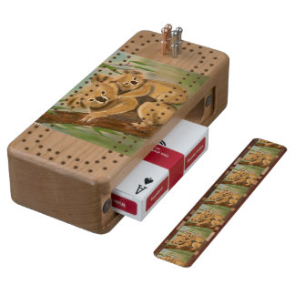 KUALA MOTHER AND BABY CHERRY CRIBBAGE BOARD
