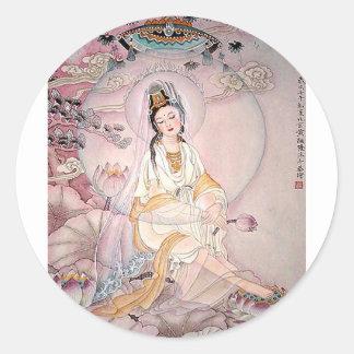 Kuan Yin; Buddhist Goddess Of Compassion Classic Round Sticker