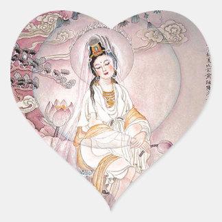 Kuan Yin; Buddhist Goddess Of Compassion Heart Sticker