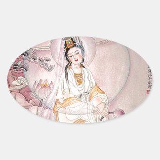 Kuan Yin; Buddhist Goddess Of Compassion Oval Sticker