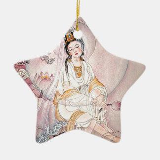 Kuan Yin; Diosa budista de la compasión Adorno De Cerámica En Forma De Estrella