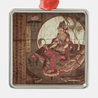 Kuan-yin, diosa de la compasión adorno cuadrado plateado