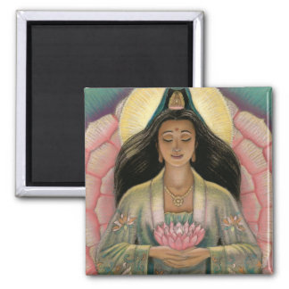 Kuan Yin Goddess of Compassion 2 Inch Square Magnet