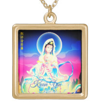 Kuan Yin Goddess Of Compassion Gold Finish Necklace