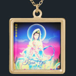 """Kuan Yin Goddess Of Compassion Gold Plated Necklace<br><div class=""""desc"""">Gorgeous brightly colored Kuan Yin Chinese Goddess Of Compassion gold tone necklace!</div>"""