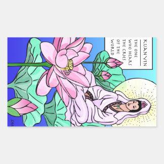 Kuan Yin, Quan Yin, Hears Your Cries Rectangular Sticker
