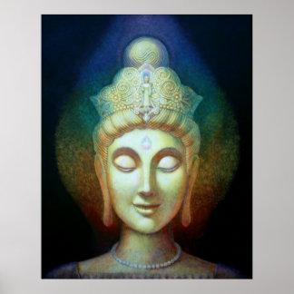 Kuan Yin Rainbow Aura Spiritual Goddess Art Poster