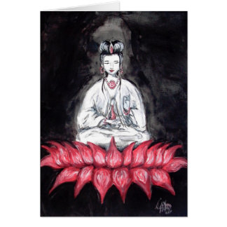 Kuan Yin - seated on Red Lotus Card