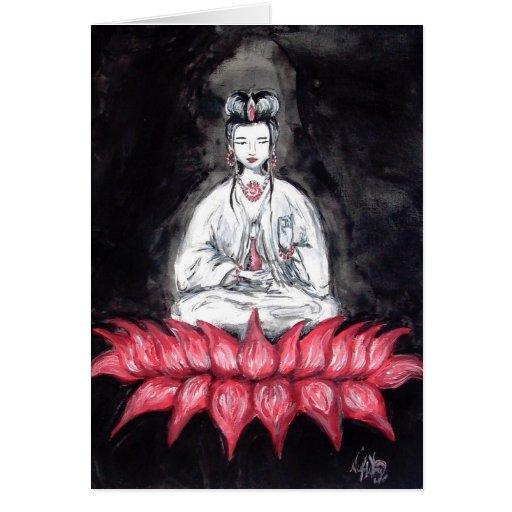 Kuan Yin - seated on Red Lotus Card