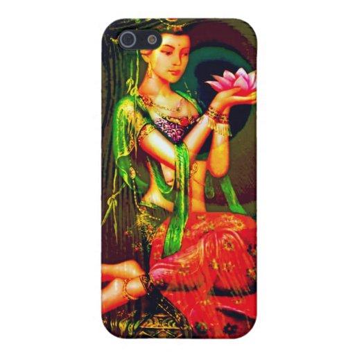 Kuan Yin y la pluma del pavo real iPhone 5 Funda